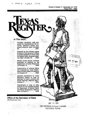 Primary view of object titled 'Texas Register, Volume 3, Number 71, Pages 3337-3383, September 22, 1978'.