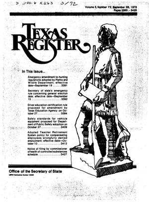 Primary view of object titled 'Texas Register, Volume 3, Number 72, Pages 3385-3429, September 26, 1978'.
