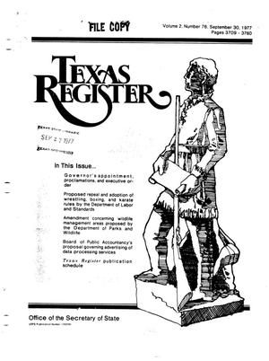 Primary view of object titled 'Texas Register, Volume 2, Number 76, Pages 3709-3760, September 30, 1977'.