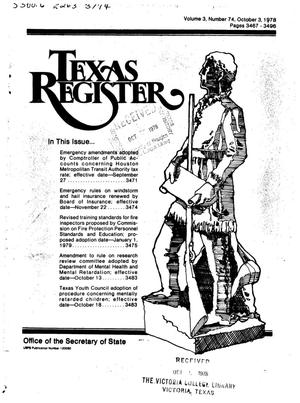 Primary view of object titled 'Texas Register, Volume 3, Number 74, Pages 3467-3496, October 3, 1978'.