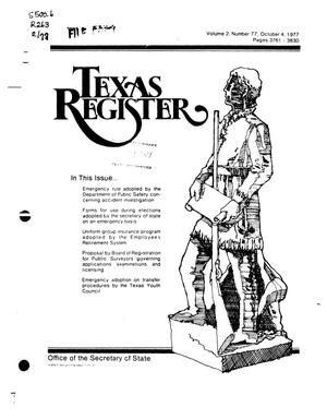 Primary view of object titled 'Texas Register, Volume 2, Number 77, Pages 3761-3830, October 4, 1977'.