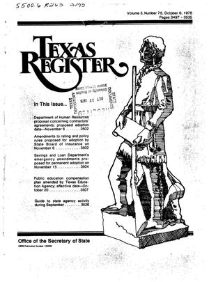 Primary view of object titled 'Texas Register, Volume 3, Number 75, Pages 3497-3535, October 6, 1978'.