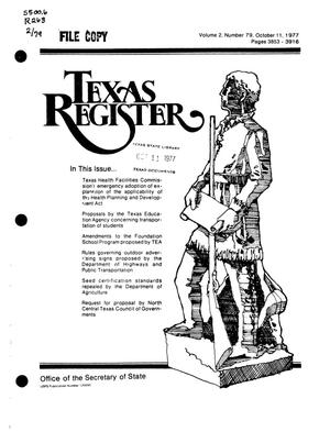 Primary view of object titled 'Texas Register, Volume 2, Number 79, Pages 3853-3916, October 11, 1977'.