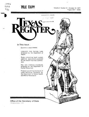 Primary view of object titled 'Texas Register, Volume 2, Number 81, Pages 3947-4008, October 18, 1977'.