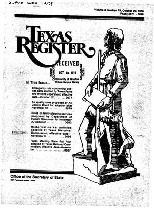 Primary view of object titled 'Texas Register, Volume 3, Number 79, Pages 3671-3699, October 20, 1978'.