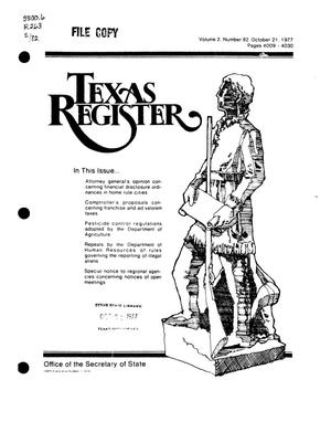 Primary view of object titled 'Texas Register, Volume 2, Number 82, Pages 4009-4030, October 21, 1977'.