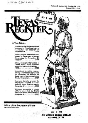 Primary view of object titled 'Texas Register, Volume 3, Number 80, Pages 3701-3752, October 24, 1978'.