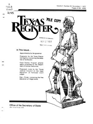 Primary view of object titled 'Texas Register, Volume 2, Number 85, Pages 4139-4200, November 1, 1977'.