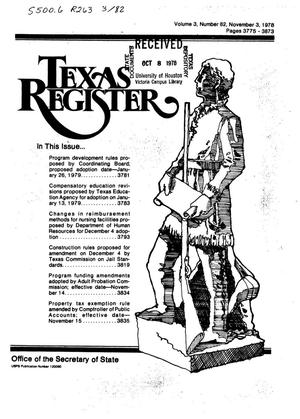Primary view of object titled 'Texas Register, Volume 3, Number 82, Pages 3775-3873, November 3, 1978'.