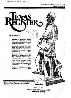 Primary view of object titled 'Texas Register, Volume 3, Number 86, Pages 4013-4079, November 17, 1978'.
