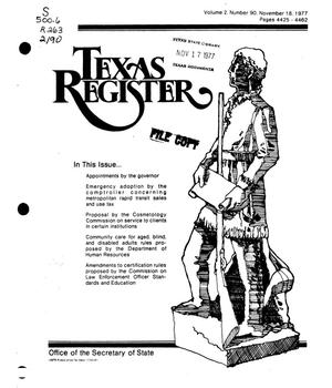 Primary view of object titled 'Texas Register, Volume 2, Number 90, Pages 4425-4462, November 18, 1977'.