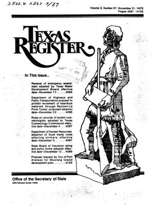 Primary view of object titled 'Texas Register, Volume 3, Number 87, Pages 4081-4103, November 21, 1978'.