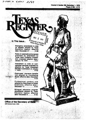 Primary view of object titled 'Texas Register, Volume 3, Number 89, Pages 4135-4172, December 1, 1978'.