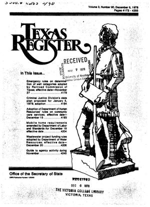 Primary view of object titled 'Texas Register, Volume 3, Number 90, Pages 90, December 5, 1978'.