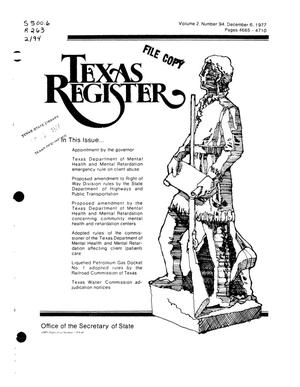 Primary view of object titled 'Texas Register, Volume 2, Number 94, Pages 4665-4710, December 6, 1977'.