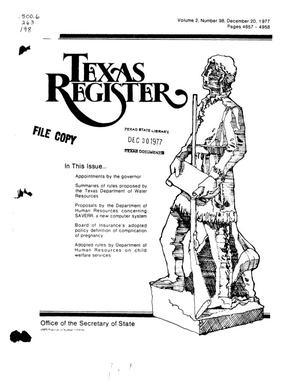 Primary view of object titled 'Texas Register, Volume 2, Number 98, Pages 4857-4958, December 20, 1977'.