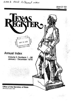 Primary view of object titled 'Texas Register, Volume 3, Annual Index, Pages 171-246, January 30, 1979'.