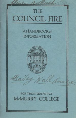 Primary view of object titled 'Council Fire, Handbook of McMurry College, 1925-1926'.