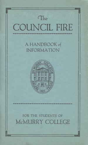 Primary view of object titled 'Council Fire, Handbook of McMurry College, 1926-1927'.