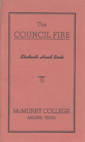 Primary view of object titled 'Council Fire, Handbook of McMurry College, [1934]'.