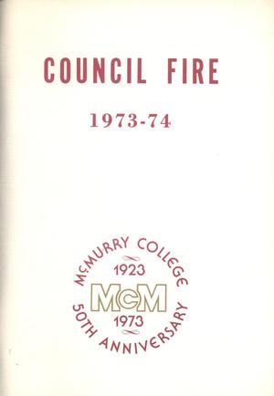 Primary view of object titled 'Council Fire, Handbook of McMurry College, 1973-74'.