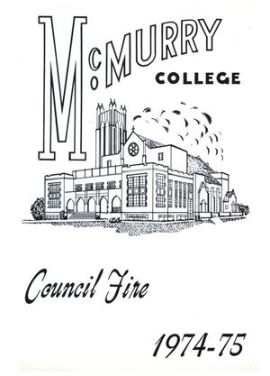 Primary view of object titled 'Council Fire, Handbook of McMurry College, 1974-75'.