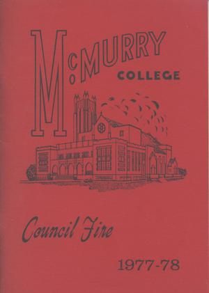 Primary view of object titled 'Council Fire, Handbook of McMurry College, 1977-78'.