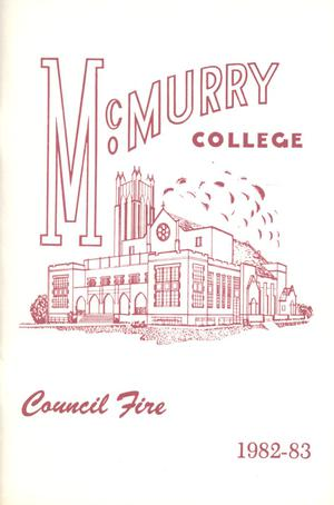 Primary view of object titled 'Council Fire, Handbook of McMurry College, 1982-83'.