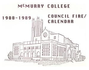 Primary view of object titled 'Council Fire, Handbook of McMurry College, 1988-1989'.