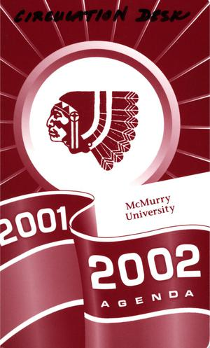 Primary view of object titled 'Council Fire, Handbook of McMurry University, 2001-2002'.