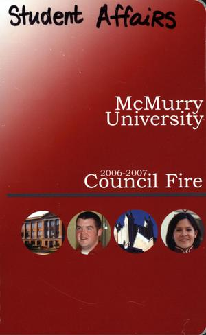 Primary view of object titled 'Council Fire, Handbook of McMurry University, 2006-2007'.