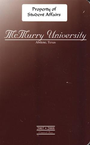 Primary view of object titled 'Council Fire, Handbook of McMurry University, 2007-2008'.