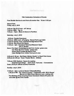Primary view of object titled '75th Celebration Schedule of Events'.