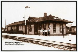 Primary view of object titled '[Postcard of the Souther Pacific Depot in Cleveland, Texas]'.