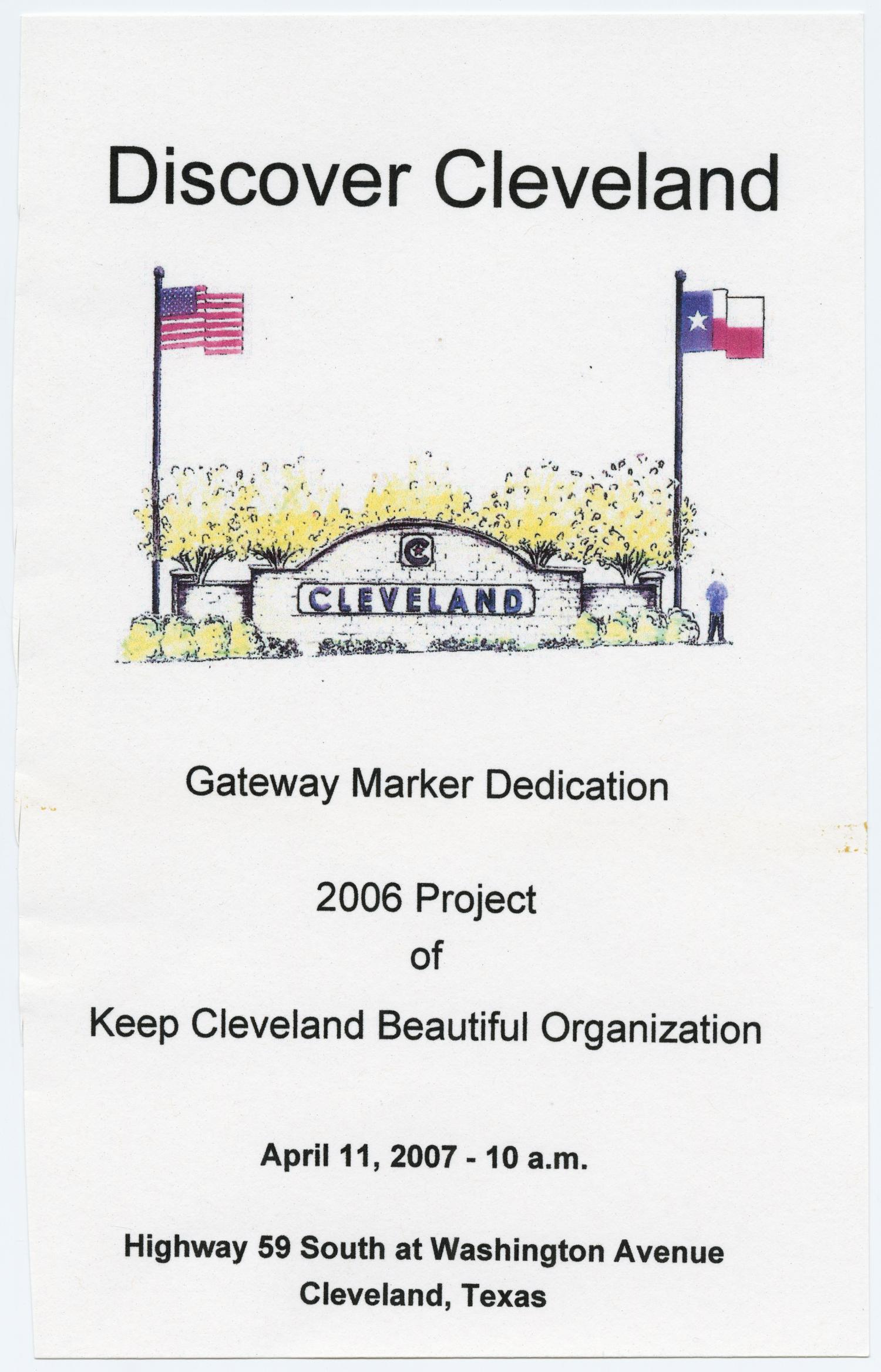 [Program for Dedication Ceremony of Cleveland, Texas Gateway Marker]                                                                                                      [Sequence #]: 1 of 2