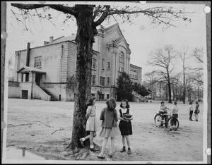 Primary view of object titled '[Children Outside the Cleveland School]'.