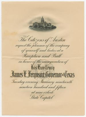 Primary view of object titled '[Invitation to the Inauguration of James Ferguson, Governor of Texas]'.