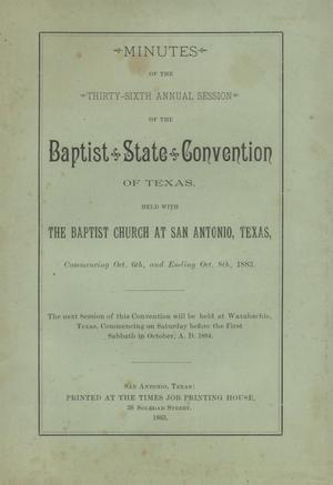Primary view of object titled 'Minutes of the Thirty-Sixth Annual Session of the Union Baptist Association, 1883'.