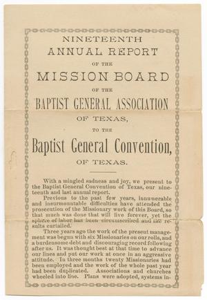 Primary view of object titled 'Nineteenth Annual Report of the Mission Board of the Baptist General Association of Texas, 1886'.