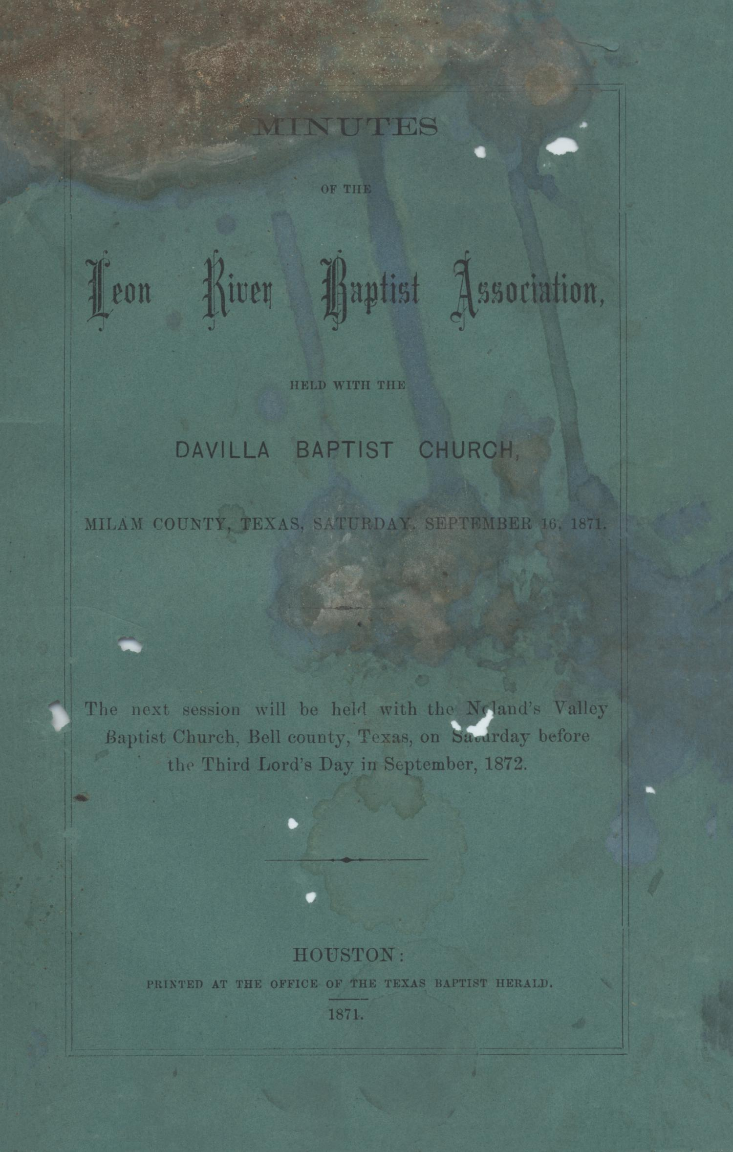 Minutes of the Leon River Baptist Association, 1871                                                                                                      Front Cover