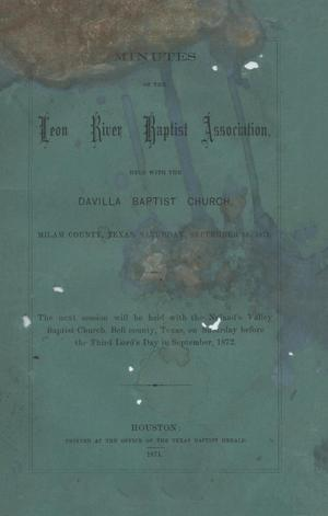 Primary view of object titled 'Minutes of the Leon River Baptist Association, 1871'.