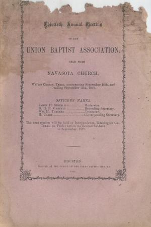 Minutes of the Thirtieth Annual Meeting of the Union Baptist Association, 1869