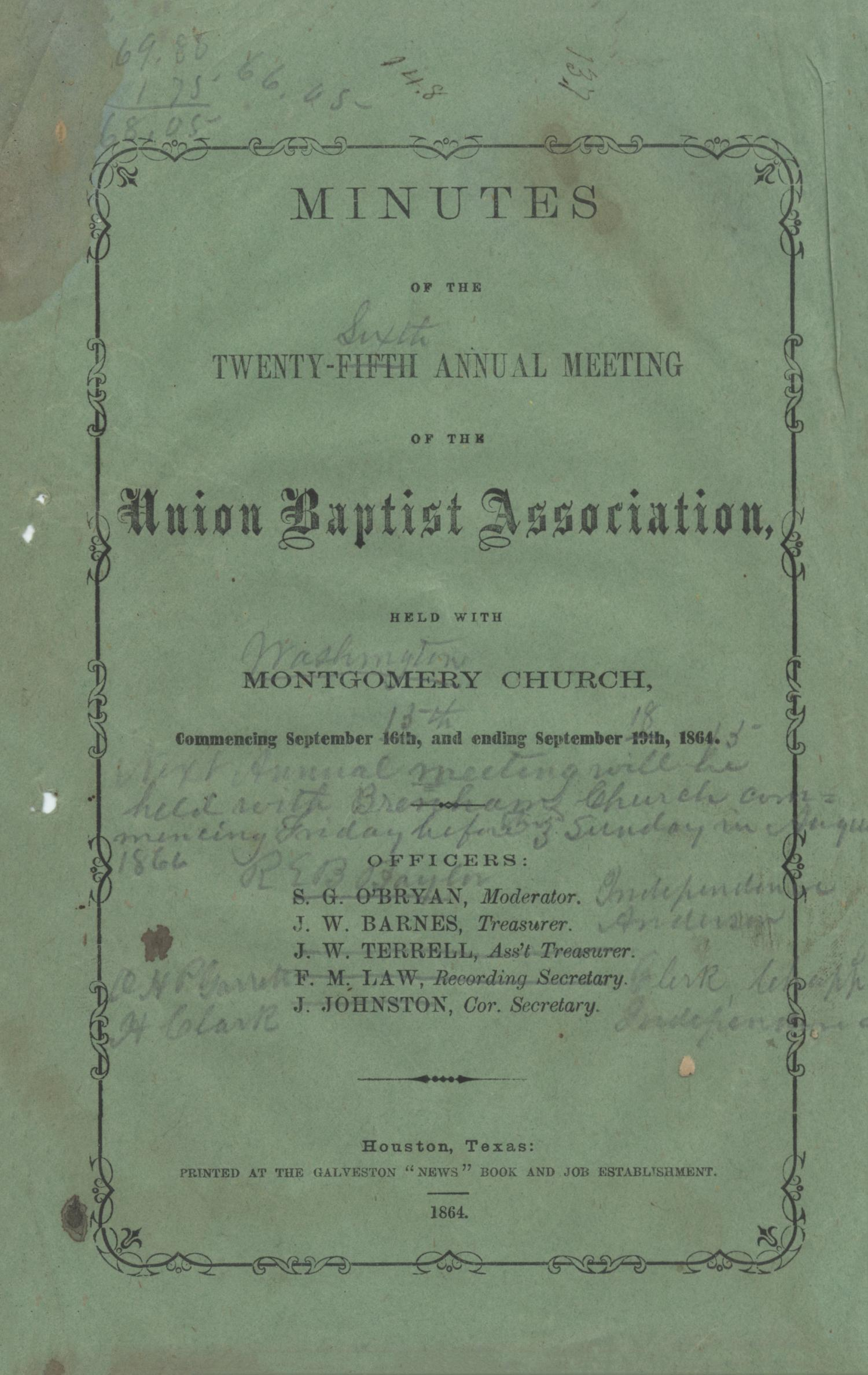 Minutes of the Twenty-Fifth Annual Meeting of the Union Baptist Association, 1864                                                                                                      Front Cover