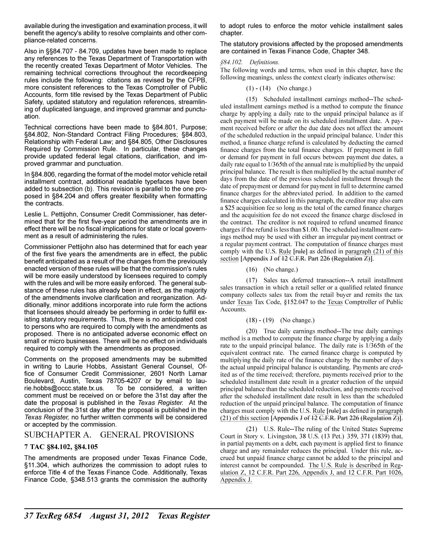 Texas Register, Volume 37, Number 35, Pages 6819-7008, August 31, 2012                                                                                                      6854