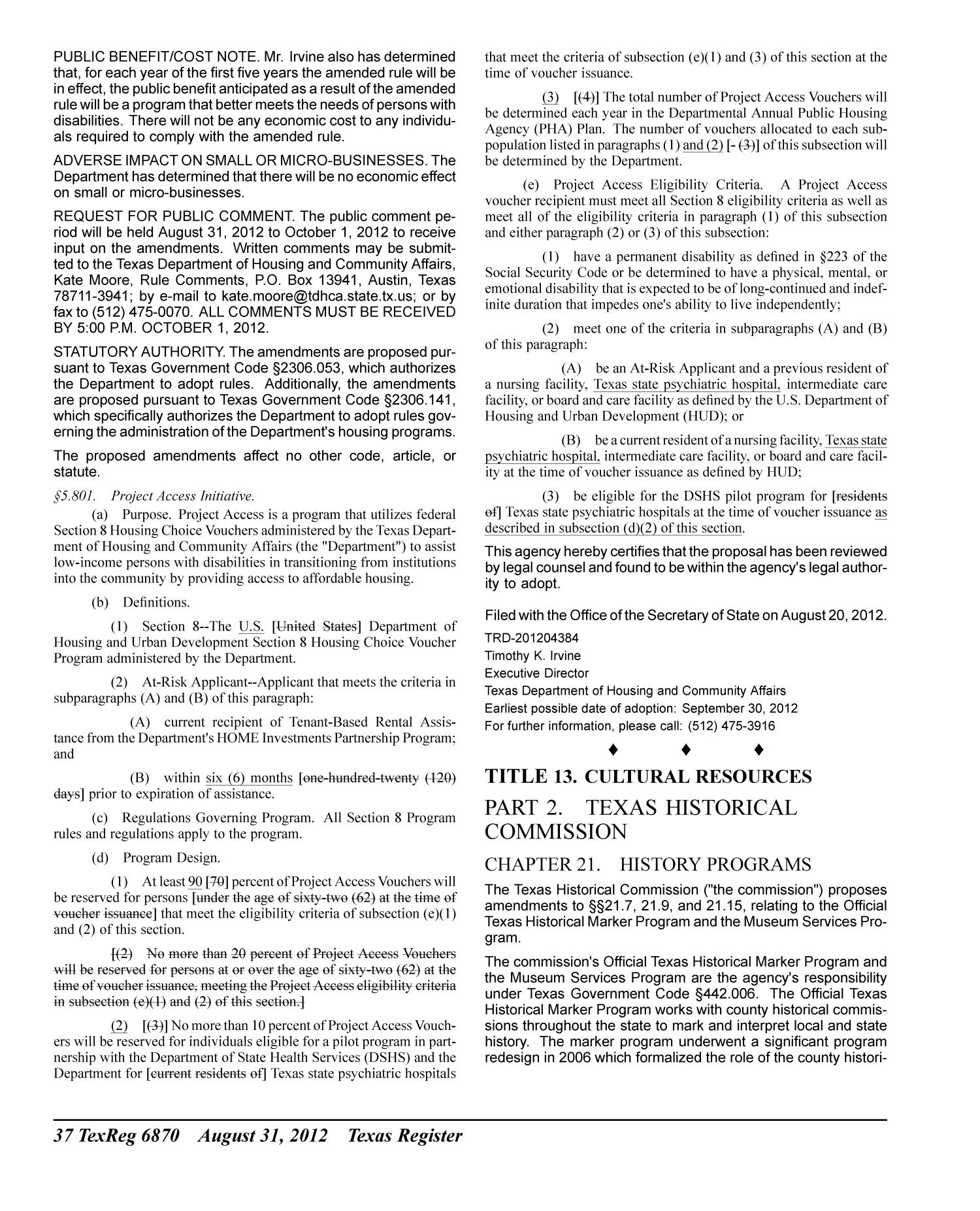 Texas Register, Volume 37, Number 35, Pages 6819-7008, August 31, 2012                                                                                                      6870