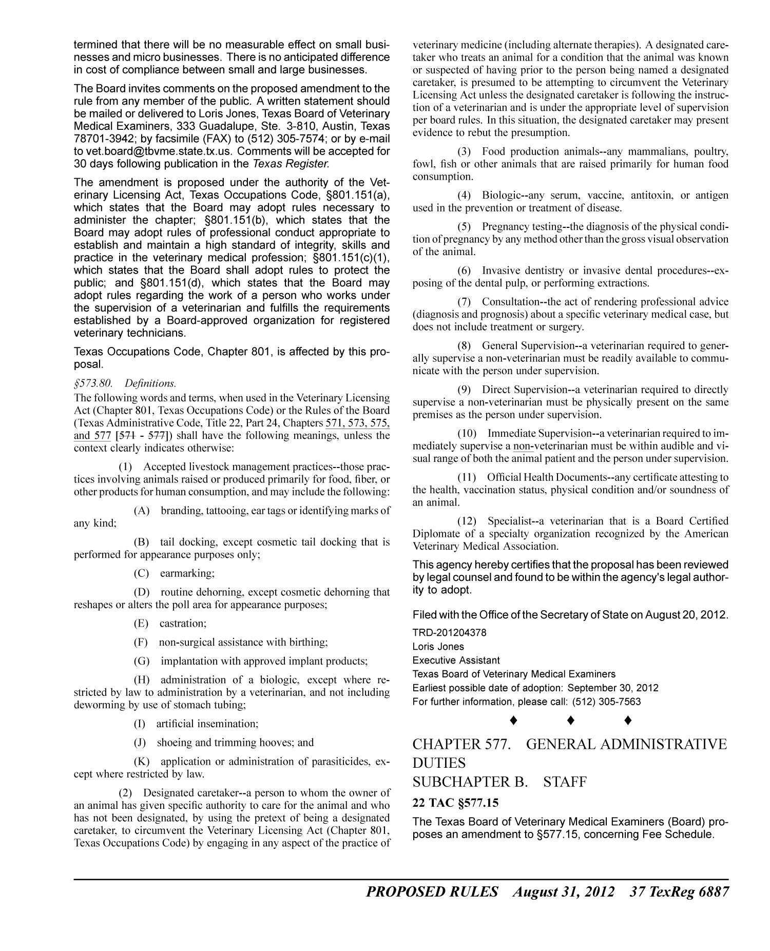 Texas Register, Volume 37, Number 35, Pages 6819-7008, August 31, 2012                                                                                                      6887