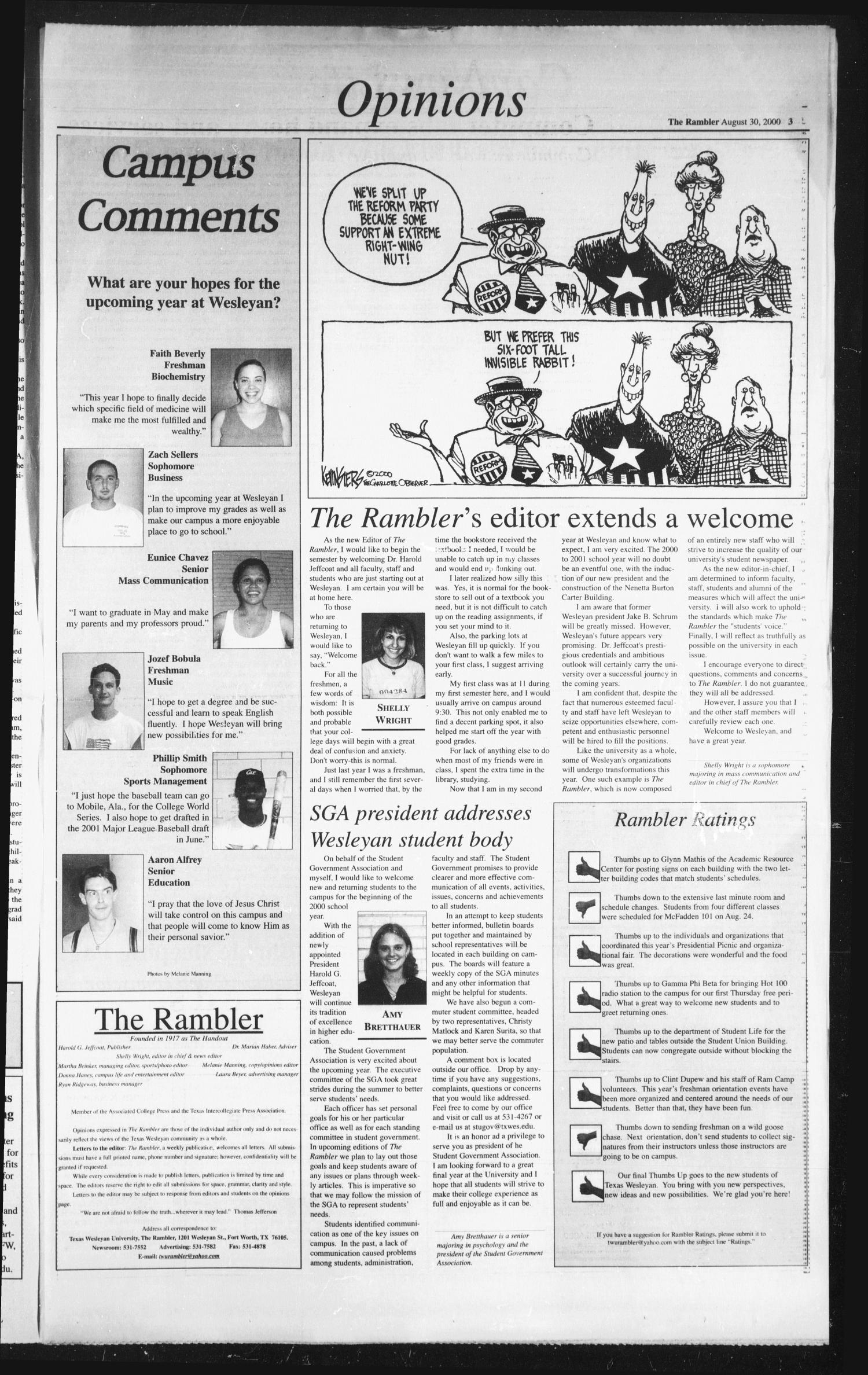 The Rambler (Fort Worth, Tex.), Vol. 84, No. 1, Ed. 1 Wednesday, August 30, 2000                                                                                                      [Sequence #]: 3 of 6