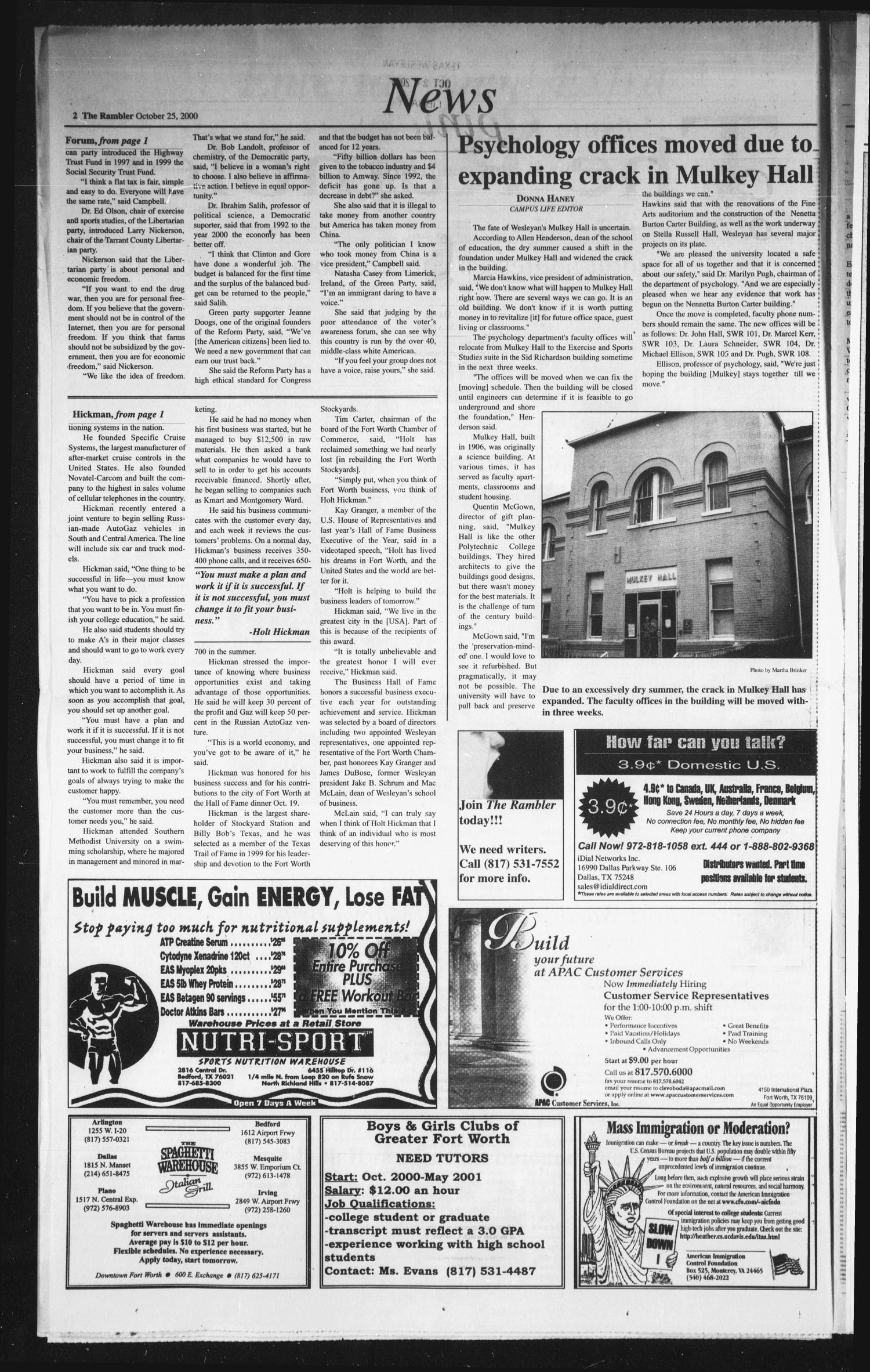 The Rambler (Fort Worth, Tex.), Vol. 84, No. 9, Ed. 1 Wednesday, October 25, 2000                                                                                                      [Sequence #]: 2 of 6