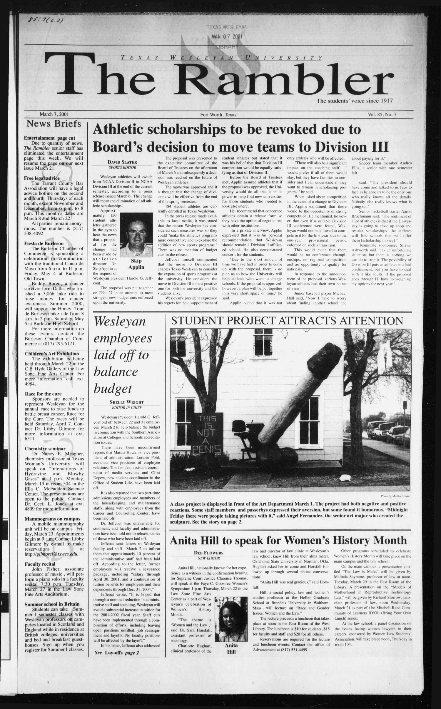 The Rambler (Fort Worth, Tex.), Vol. 85, No. 7, Ed. 1 Wednesday, March 7, 2001                                                                                                      [Sequence #]: 1 of 4