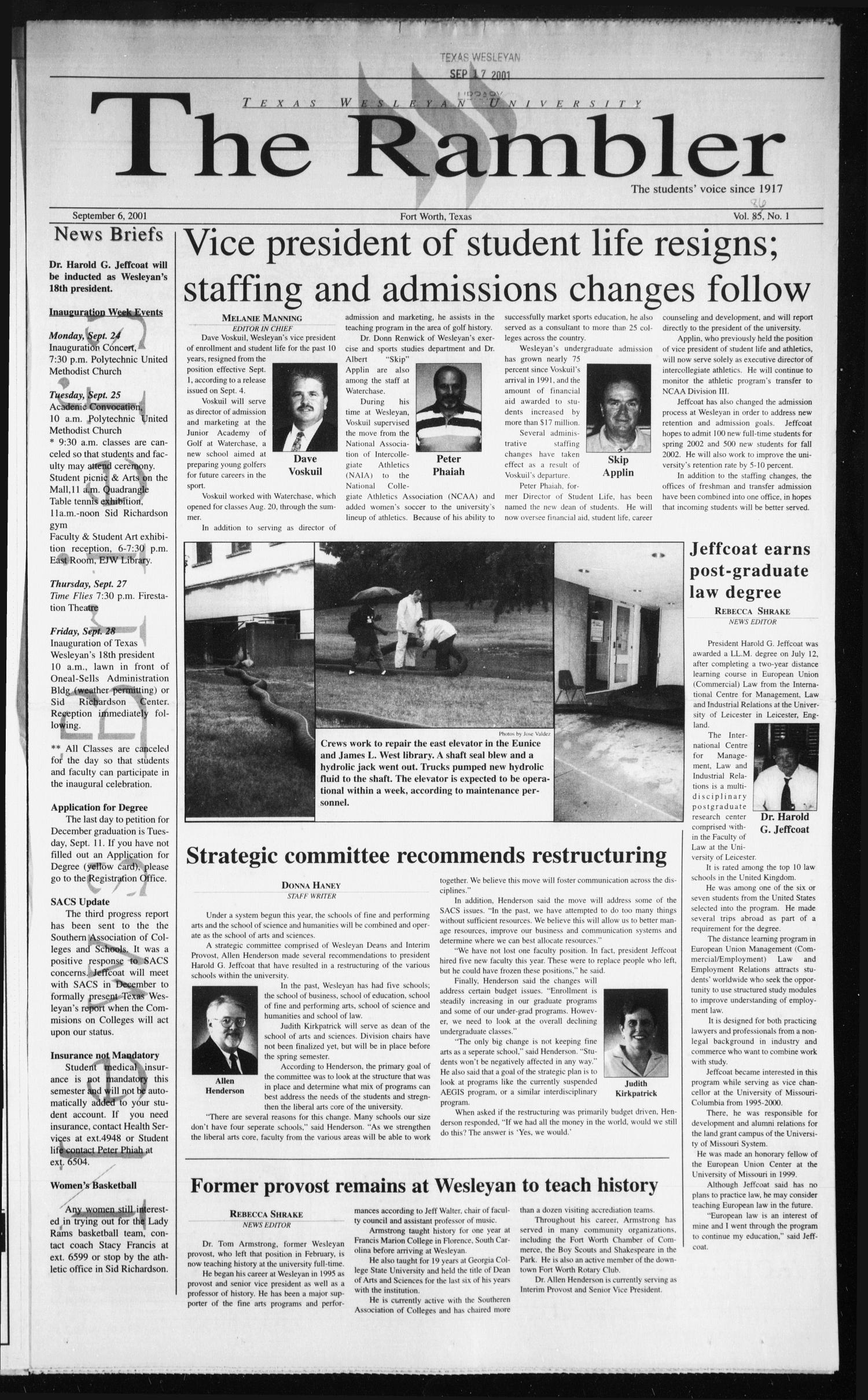 The Rambler (Fort Worth, Tex.), Vol. 86, No. 1, Ed. 1 Thursday, September 6, 2001                                                                                                      [Sequence #]: 1 of 4